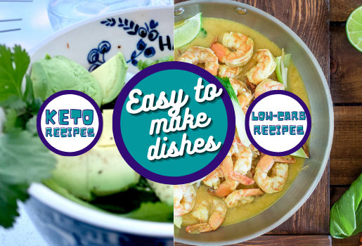 Keto and Low carb image of avocados, shrimp and link to other keto recipes, low carb recipes.